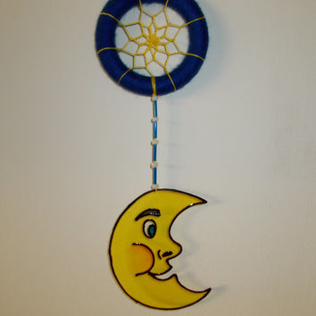 2.8'' Moon Dreamcatcher - Blue and Yellow Nursery Mobile - Glass Painted Dream Catcher - Hanging Baby Room Decoration - Suncatcher Mobile
