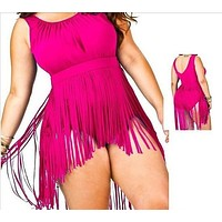 New Sexy Women Plus Size Swimsuit Retro Tassels Padded One-Piece Bikini Swimwear Bathing Suits BeachWear = 1956809540