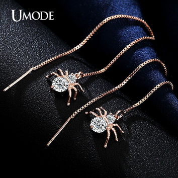 Spider Shaped Round Cut Clear CZ Gold Plated Simulated Diamond Dangle Earrings