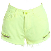 ROMWE | Zippered Shredded Fluorescent-yellow Shorts, The Latest Street Fashion