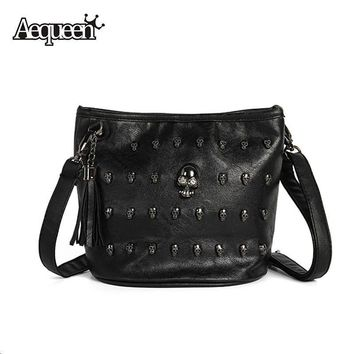 Crossbody Bags Skull Ladies PU Leather Goth Coressbaby Zipper