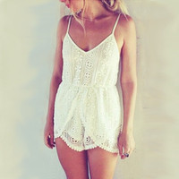 Fondant and Lace Playsuit - back in stock