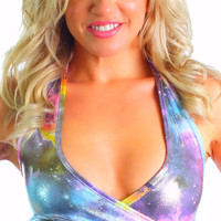 Metallic Silver Space Galaxy Holographic Print Rave Wrap Top