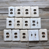 Set of 13 Shabby Chic White Wooden Switch Plate Light Switch and Outlet Covers
