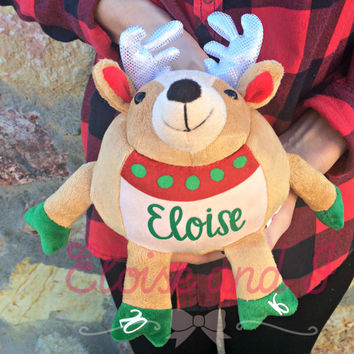 personalized reindeer, christmas stocking stuffer, monogrammed reindeer, first christmas gift, personalized plush, baby christmas gift