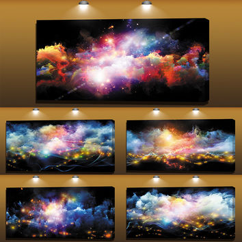 Modern Star Universe Wall Pictures For Living Room Decor Design Abstract Canvas Painting Peinture Abstraite Poster Canvas Art