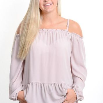 Blush Off Shoulder Babydoll Blouse
