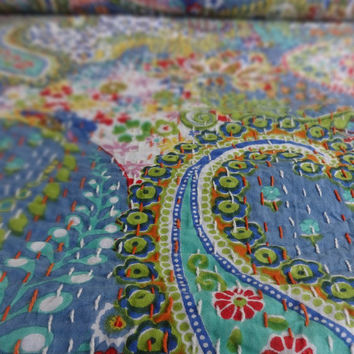 Handmade Paisley Printed Kantha Quilt, Twin Size Kantha Bedding, Indian Cotton Bedspread, Bohemian Kantha Throw, Floral Bed Cover