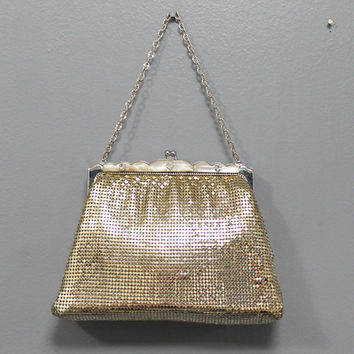 Vintage Whiting and Davis Silver Lame Mesh Purse with White Lucite Rhinestone Frame