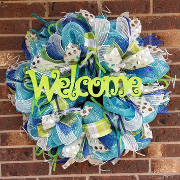 Spring/Summer Welcome Deco Mesh Wreath