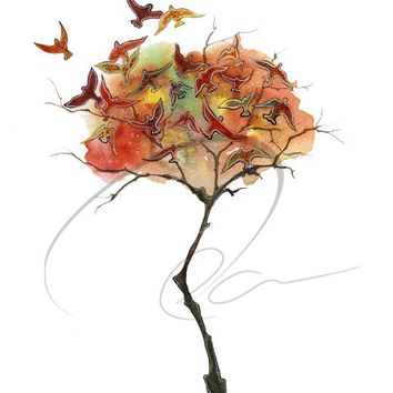Rising Fall - Art Print watercolor autumn tree colorful fall leaves wall decor birds landscape painting Canadian artist Oladesign 8x10