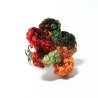 Autumn flower crochet ring