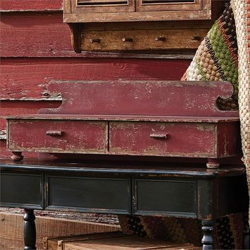 Farmhouse Distressed Red Wood Counter Shelf Vintage inspired by Park Designs