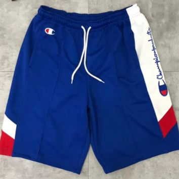 Champion Summer New Fashion Shorts Side Letter Print Loose Casual Splice Shorts Blue