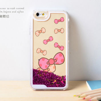 Bow Dynamic Liquid Pink Glitter Sand Quicksand Bling Clear iPhone 6 Plus case Retro flower Phone Case