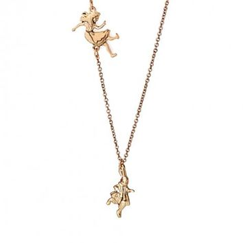 """Falling Alice"" And Rabbit Alice In Wonderland Gold Plated Necklace"