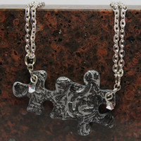 Puzzle Piece Necklace Set Polymer Clay by GirlwithaFrogTattoo
