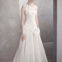 One-Shoulder Basket-Weave Organza Gown - David's Bridal - mobile