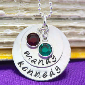 """Two-Layer Hand-stamped Birthstone Name Necklace in Sterling Silver 3/4"""" and 1"""" with Swarovski Birthstone  - great for moms or grandmas"""