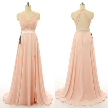 Pink Backless Halter Applique Prom Dresses