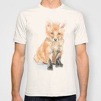 Baby Fox Watercolor Painting - Woodland Animal T-shirt by Susan Windsor