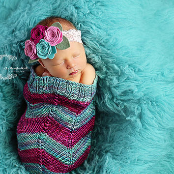 Chevron Newborn Baby Cocoon, Baby Swaddle sack, Baby Swaddle wrap, Photography prop