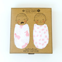 Organic Cotton Swaddle Blanket -Bunnies Print (Pink)