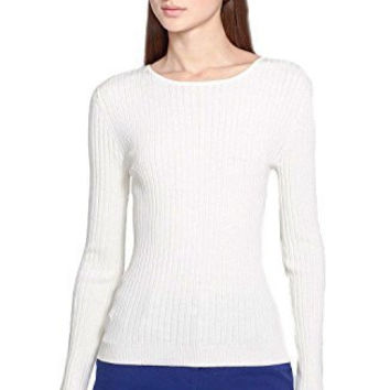 St. John Collection Fine Gauge Rib Knit Long Sleeve Top, Ivory