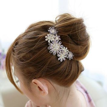 2 Colors Fashion Women Flower Metal Jewelry Crystal Diamond Ornaments Hair Plug Plate Comb Wedding Party Hair Accessories 2016