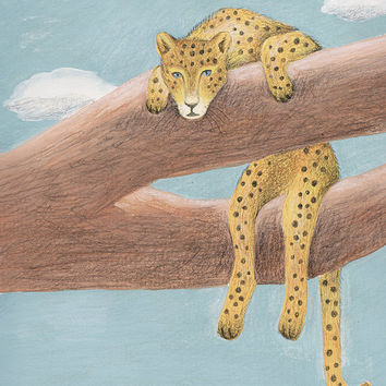 Cheetah Art Print - Big Cat Painting, Acrylic and Colored Pencil, Relaxing Cat Art, Cheetah Painting, Animal Art, Hanging Out, Cat in Tree