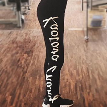 Black Monogram Print High Waisted Sports Yoga Workout Long Legging