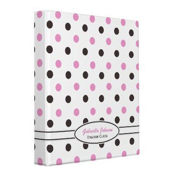 Personalized: Pink & Brown Polka Dot Binder: from Zazzle.com