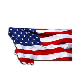 Montana Waving USA American Flag. Patriotic Vinyl Sticker