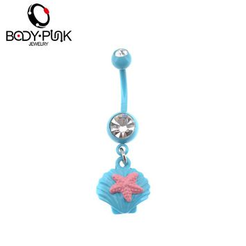 Light Blue Shell Pink Starfish  Summer Dangle Belly Button Ring Navel Jewelry 14G
