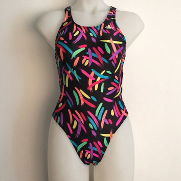 Vintage 1980s 'Hot Curry' brushstroke print racer back one-piece swimsuit / Lycra