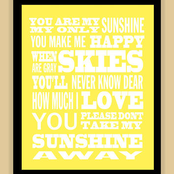 You are MY SUNSHINE quote modern print poster 8x10