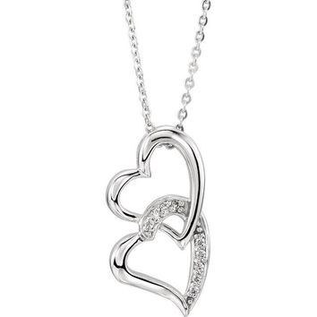 Sterling Silver Sisters by Heart Pendant & Chain (reversible)