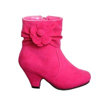 Kids Faux Suede Ankle Boots w/ Flowers