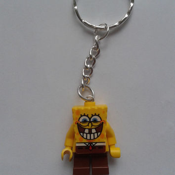 Spongebob  keychain keyring  made with LEGO®   minifigure