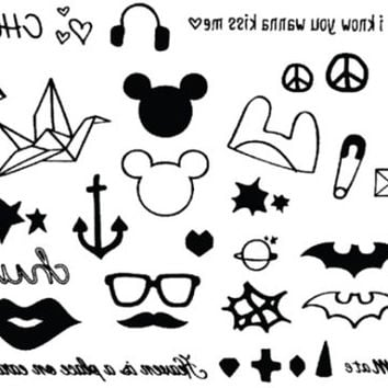 many cute lovely temporary tattoo little sticker  fake tattoo water ink body art ear wrist finger neck tiny tattoo for party or show