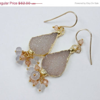 SALE 35% OFF Sand Beige Druzy Earrings Blue and Beige Dangle Earrings Beach Wedding