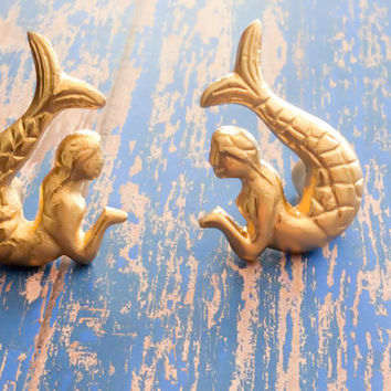 Mermaid Knobs Pulls Ocean Beach House Bathroom DecorGold Knobs  Nautical Nursery Dresser Drawer Pulls Knobs Mermaid Tail Ocean Theme Decor