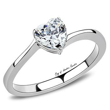 A Perfect 1CT Heart Cut Russian Lab Diamond Engagement Ring