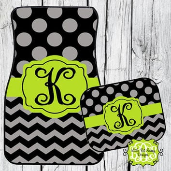 Car Mats Chevron Personalized Monogrammed Floor Car Mat Initial Lime Green Black Gray