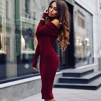 knit Strapless Dress Off the Shoulder Autumn Dress Party Dress Sexy Elegant Bodycon