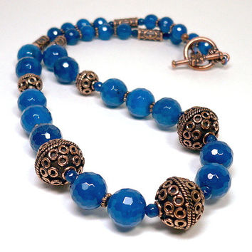 Cerulean Blue Faceted Agate Bali Copper OOAK 21 inch Necklace