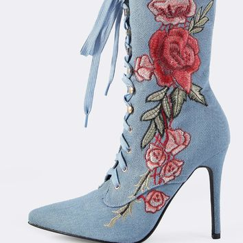 Embroidered Denim Lace Up Booties Denim