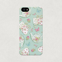 Blue Turquoise Teacup and Teapot iPhone 4 4s 5 5s 5c Case