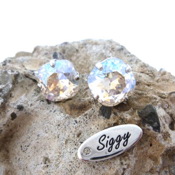 Swarovski crystal Moonlight Stud/post earrings, 10mm cushion cut, sparkly bridal earrings **SELECT-A-FINISH** Siggy Jewelry