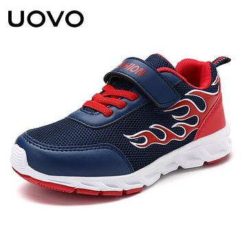 UOVO 2018 Boys Fashion Sneakers Textile Breathable Kids Shoes Flame Pattern Children Shoes for Eur Size 30#-40#